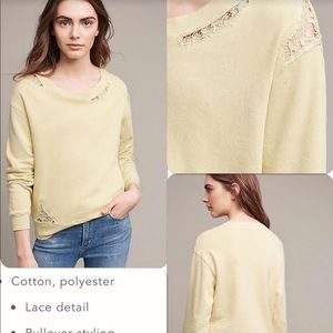 NWT Anthropologie Stateside Lace Terry Sweatshirt